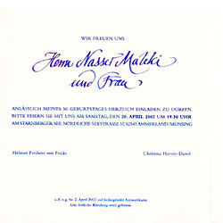 invitation cards, calligraphy