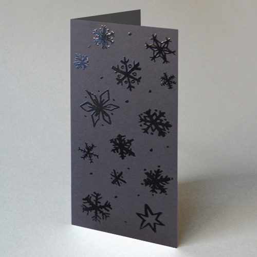 black christmas cards with relief-lacquer: Snowflakes