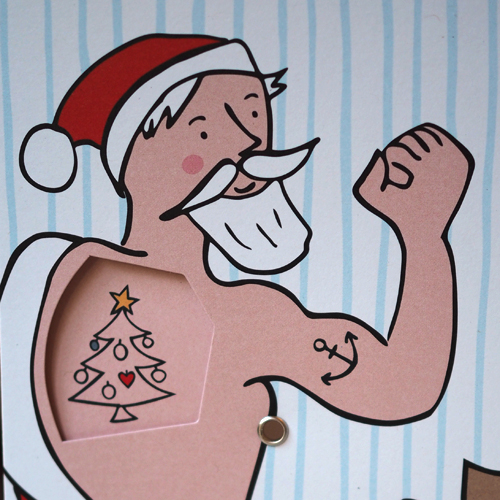 Santa Claus and his tattoos - German Christmas Cards with rotating disc