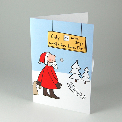 Only ... more days until Christmas Eve! Eco-Friendly Christmas Cards with rotating disc