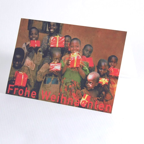 children with wrapped gifts, charity christmas cards for burundikids