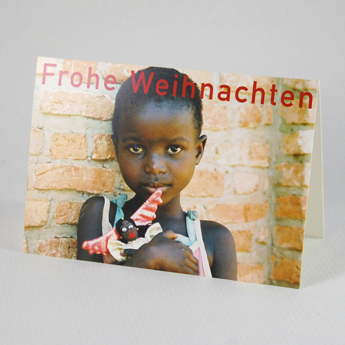 girl with an angel, charity christmas cards for burundikids