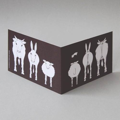 Ox, donkey and sheep looking at the star of Bethlehem, funny Corporate Christmas Cards