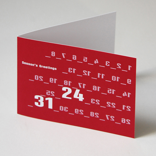design christmas cards in red with a lot of numbers