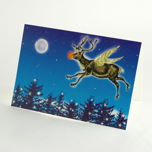 Christmascards: Rudolph flying over the woods