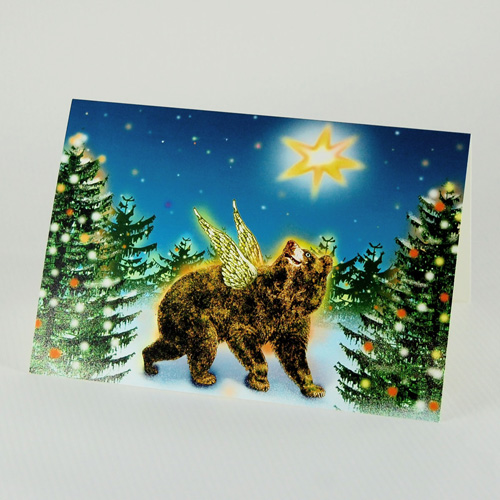bear in the winter forest, Kitsch Christmas Cards