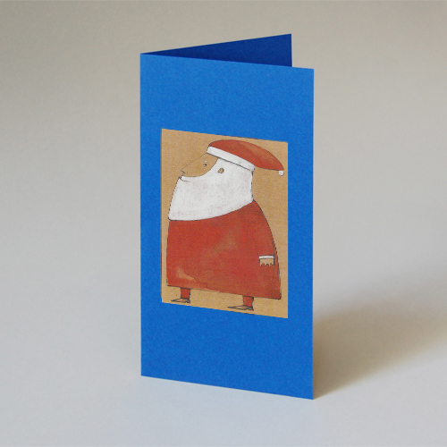 blue Christmas Cards with Santa Claus