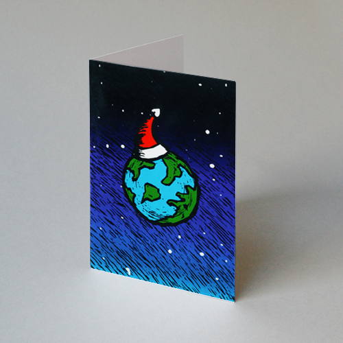 Christmas Cards: the globe with a red hat